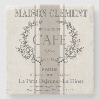 modern vintage french cafe stone coaster