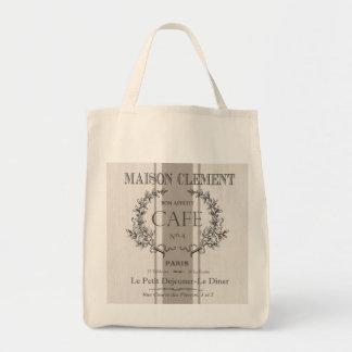 modern vintage french cafe tote bag