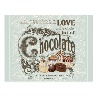 modern vintage french chocolates postcard