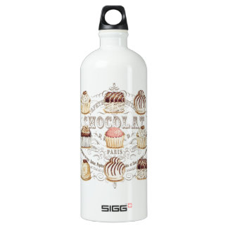 modern vintage french chocolates water bottle