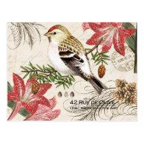 Modern vintage French Christmas bird postcard