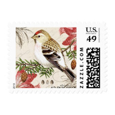 modern vintage French Christmas bird stamp at Zazzle