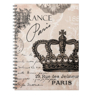 modern vintage french crown notebook