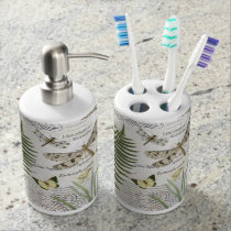 modern vintage french dragonfly bath set