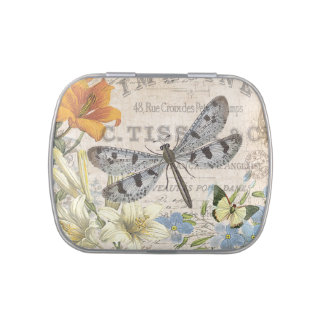 modern vintage french dragonfly candy tins