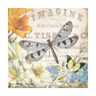 modern vintage french dragonfly canvas print