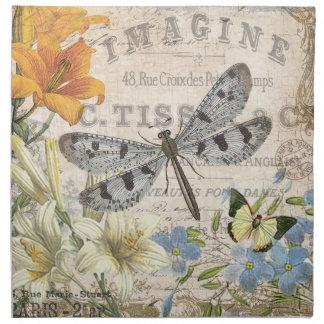 modern vintage french dragonfly cloth napkin