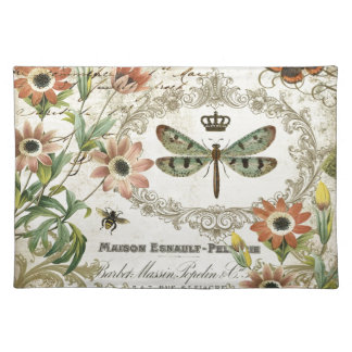 Modern Vintage French Dragonfly Cloth Placemat