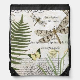modern vintage french dragonfly drawstring backpack