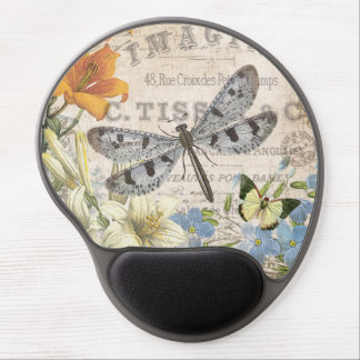 modern vintage french dragonfly gel mouse pad
