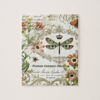 Modern Vintage French Dragonfly Jigsaw Puzzle