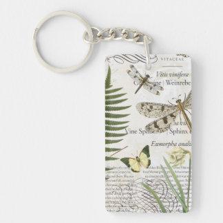 modern vintage french dragonfly keychain