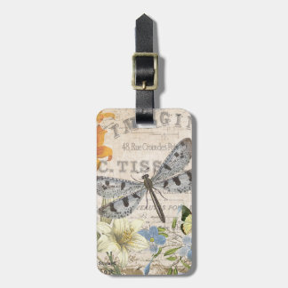modern vintage french dragonfly luggage tag