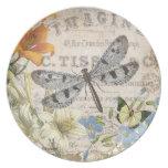 modern vintage french dragonfly melamine plate