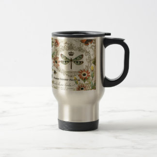 Modern Vintage French Dragonfly 15 Oz Stainless Steel Travel Mug