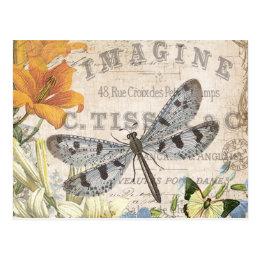 modern vintage french dragonfly postcard