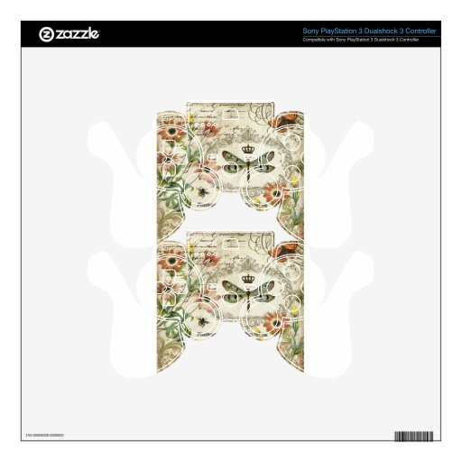 Modern Vintage French Dragonfly Decal For PS3 Controller