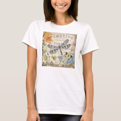 modern vintage french dragonfly T_Shirt