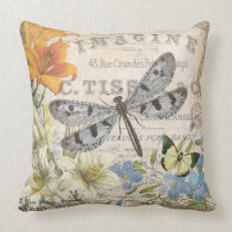 modern vintage french dragonfly throw pillow