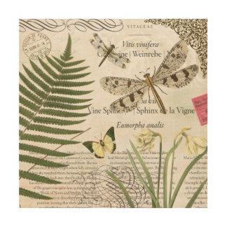 modern vintage french dragonfly wood print