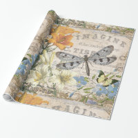 modern vintage french dragonfly wrapping paper