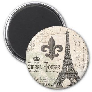 modern vintage french Eiffel Tower 2 Inch Round Magnet
