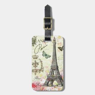 modern vintage french eiffel tower bag tag