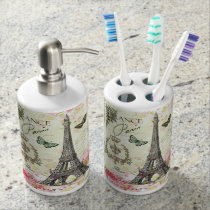 modern vintage french eiffel tower bathroom set
