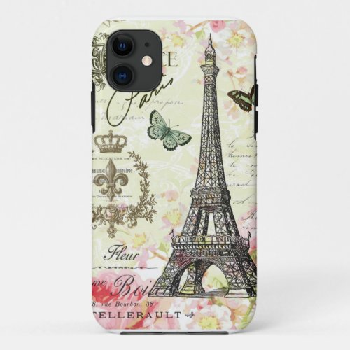 modern vintage french eiffel tower Phone Case