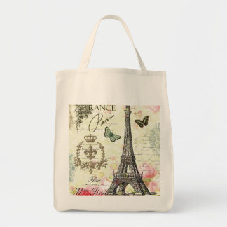 modern vintage french eiffel tower grocery tote bag