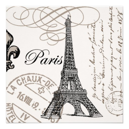 modern vintage french Eiffel Tower Personalized Invites | Zazzle