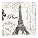 modern vintage french Eiffel Tower Personalized Invites