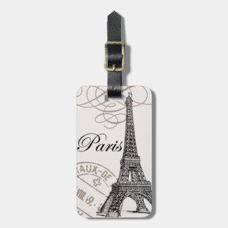 modern vintage french Eiffel Tower Luggage Tag