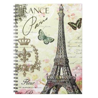 modern vintage french eiffel tower notebook