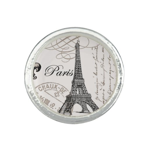 modern vintage french Eiffel Tower Photo Ring