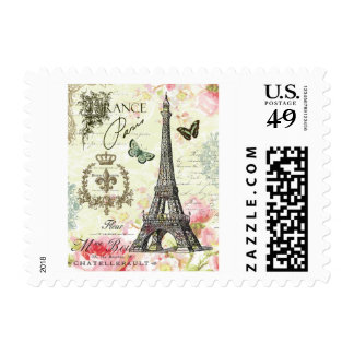 modern vintage french eiffel tower postage
