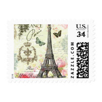 modern vintage french eiffel tower postage