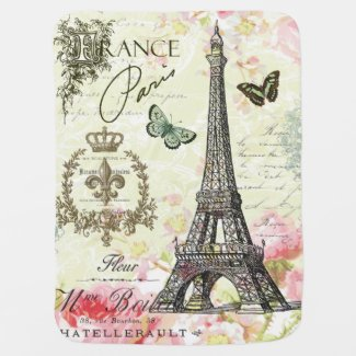 modern vintage french eiffel tower swaddle blanket