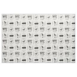 modern vintage french farm animals fabric