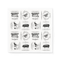 modern vintage french farm animals napkin