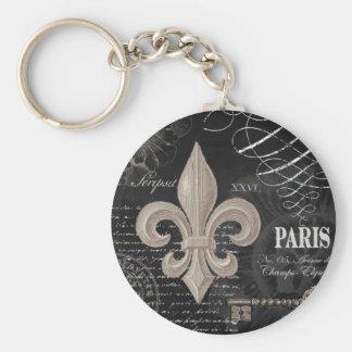 modern vintage french fleur de lis basic round button keychain