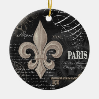modern vintage french fleur de lis ceramic ornament