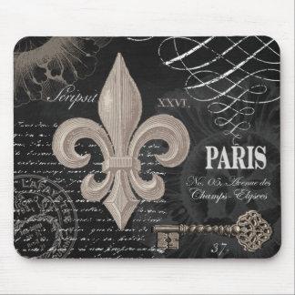 modern vintage french fleur de lis mouse pad