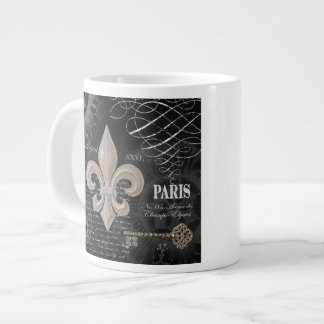 modern vintage french fleur de lis 20 oz large ceramic coffee mug