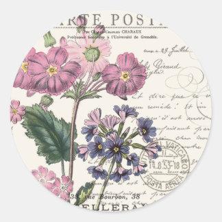 modern vintage french floral classic round sticker