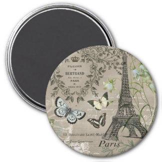 modern vintage French garden Eiffel Tower magnet