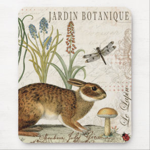 Modern Vintage French Garden rabbit Mouse Pad