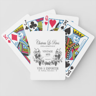 modern vintage french grain sac wine bicycle playing cards