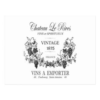 modern vintage french grain sac wine postcard