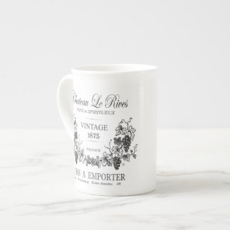 modern vintage french grain sac wine tea cup